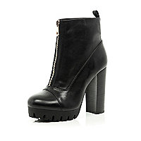 Black cleated sole zip front ankle boots