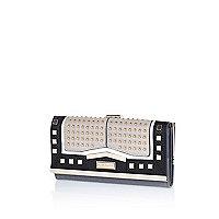 Black colour block studded clip top purse