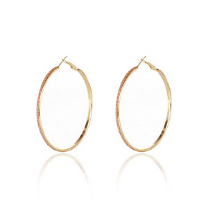 Gold tone pink glitter hoop earrings