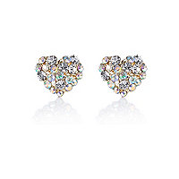 Gold tone sparkle heart stud earrings