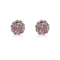 Pink diamante cluster stud earrings