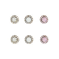 Gold tone pretty stud earrings pack