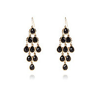 Gold tone black gemstone dangle earrings