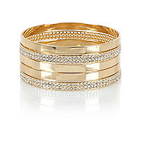 Gold tone encrusted bangle pack