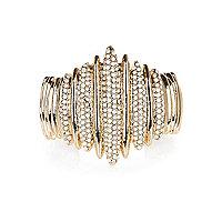Gold tone encrusted cuff bracelet
