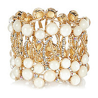 Gold tone bejewelled stretch bracelet