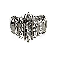 Silver tone diamante encrusted cuff bracelet