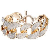 Gold tone glitter chain bracelet