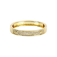 Gold tone diamante encrusted bangle