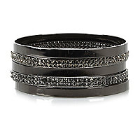 Grey gunmetal tone encrusted bangle pack