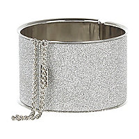 Silver tone glitter chain detail bangle