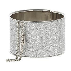 Silver tone glitter chain detail bangle