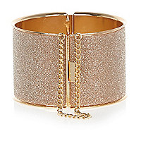 Gold tone glitter chain detail bangle