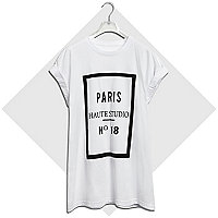 White Paris haute studio print t-shirt