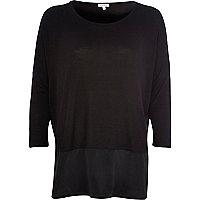 Black woven panel t-shirt