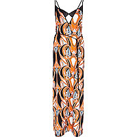 Orange Pacha swirl print maxi dress