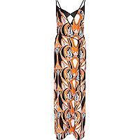 Orange Pacha swirl print maxi dress