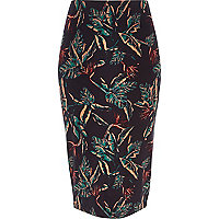 Navy tropical print pencil skirt