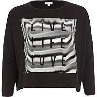 Black live life love boxy Top