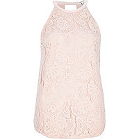 Light pink lace racer front top
