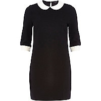 Black collar shift dress