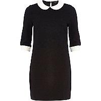 Black collar shift dress