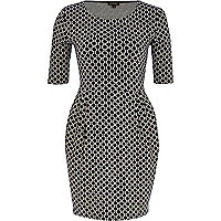 Black spot print tulip dress
