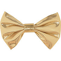 Gold lame hair bow