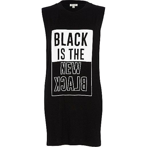 Black is the new black longline tank top
