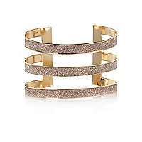 Gold tone glitter triple arm cuff