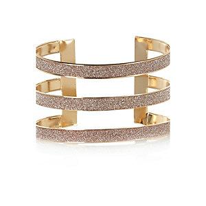 Gold tone glitter triple arm cuff