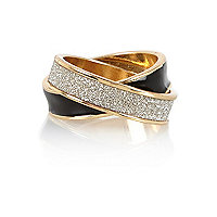 Gold tone enamel glitter entwined ring