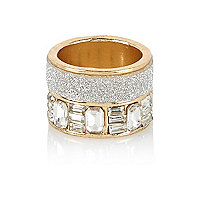 Gold tone two row encrusted ring