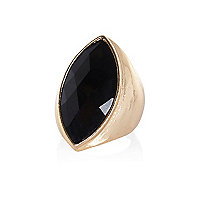 Gold tone black facet stone statement ring
