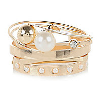 Gold tone pearl bangle pack