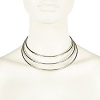 Silver tone triple torque necklace
