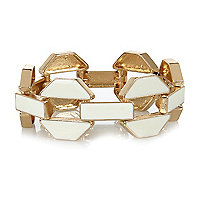 Cream chunky enamel chain bracelet