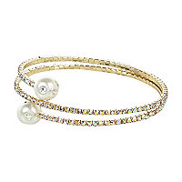 Gold tone diamante wrapped coil bracelet