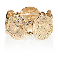 Gold tone coin repeater bracelet