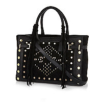 Black leather stud fringed tote bag