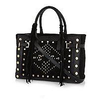 Black leather stud fringed tote bag