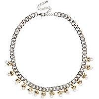 Silver tone pearl repeat necklace