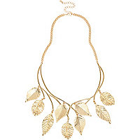 Gold tone leaf dangle necklace