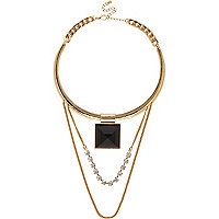 Gold tone chain choker necklace