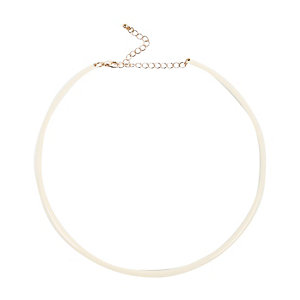 Cream skinny choker necklace