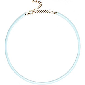 Blue skinny choker necklace