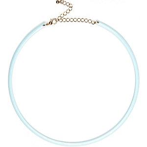 Blue skinny choker necklace