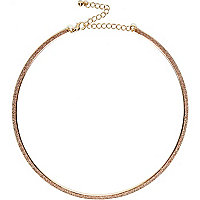 Gold tone skinny glitter necklace