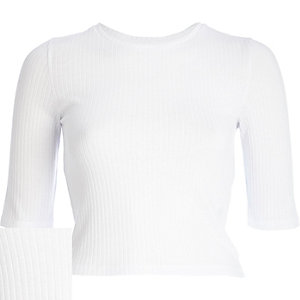 White rib 3/4 sleeve crop top