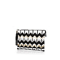 Black zigzag embellished clutch bag